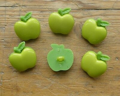6 GREEN APPLE BUTTONS 20 mm WITH SHANK