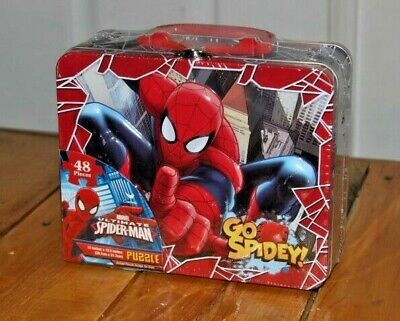 2013 Marvel Ultimate SPIDER-MAN TIN Metal Lunch Box & Puzzle 3D Cover Sealed NEW