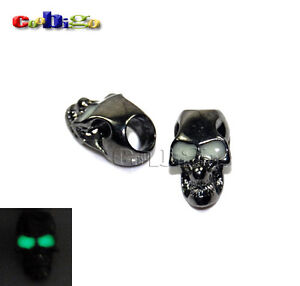 Single Vertical Hole Charm Metal Skull Luminous Eyes For Paracord Knife Lanyards