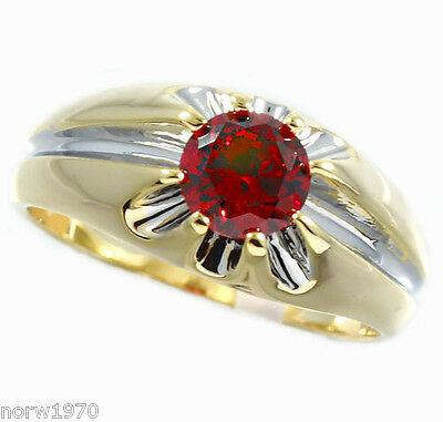 2.05ct Ruby Red Stone Two Tone Gold Ep Mens Ring