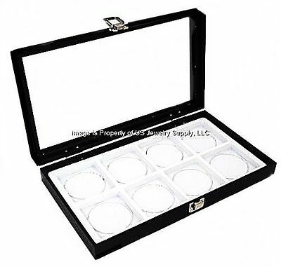1 Glass Top Lid White 8 Space Collectors Display Organizer Case Bangle Medals