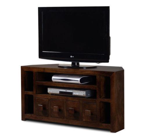 dark wood corner tv unit ebay. Black Bedroom Furniture Sets. Home Design Ideas