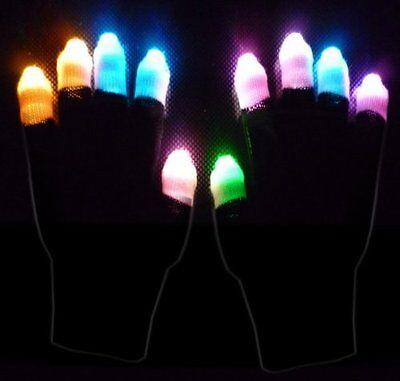 1 Pair X LED Black Gloves Multicolor (Finger Light)