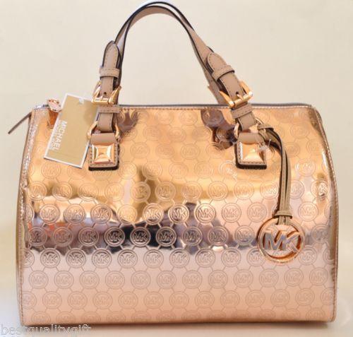 michael kors rose gold metallic handbag ebay. Black Bedroom Furniture Sets. Home Design Ideas