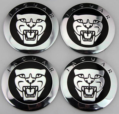 NEW JAGUAR BLACK WHEEL HUB CAPS LOGO SET OF 4 RIMS CAP C2D9611 / -