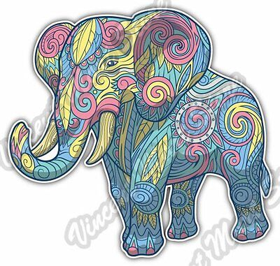 Elephant Pastel Color Ornament Car Bumper Window Vinyl Sticker Decal - Elephant Color
