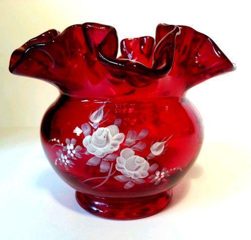 Fenton Red Vase Ebay