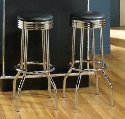 Set of 2,50s Retro Nostalgic Style Black Bar Stools for Home Office Bar 29