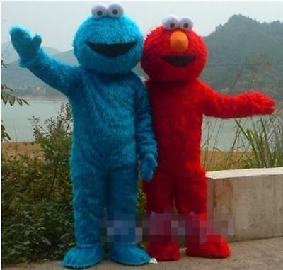 Red Elmo and Cookie Monster Mascot Cartoon Costume Fancy party dress Adult Size