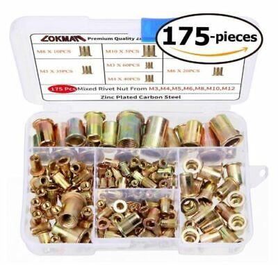 175x Set Rivet Nut Kit Mixed Zinc Steel Rivnut Insert Nutsert Threaded M3-m10