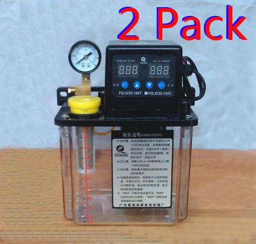 2-PACK 1.5L Dual Digital Display Automatic Lubrication Pump Oiler NC Pump 6mm