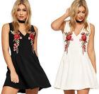 V-Neck Regular Size Dresses for Women with Embroidered