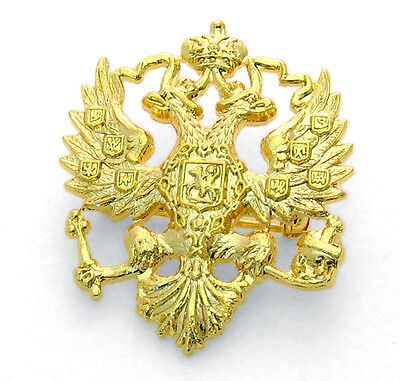Lapel Pin - Russian Double Headed Eagle - Imperial Romanov Czar - Gold Plate