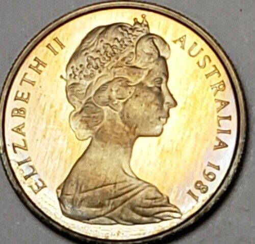 1981 AUSTRALIA 5 CENTS BU UNC LIGHTLY COLOR TONED COIN IN HIGH GRADE