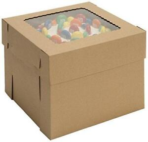 "New W PACKAGING WPCKB1212KP 12x12x12 Kraft Plain 12"" Deep Cake Box W/Window, E-Flute, Pack of 25 (Pick-up Only) - DI8"