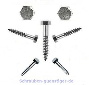 20-Unid-Tornillos-Para-Madera-Cabeza-Hexagonales-5-mm-DIN-571-5-x-25-Acero-inox