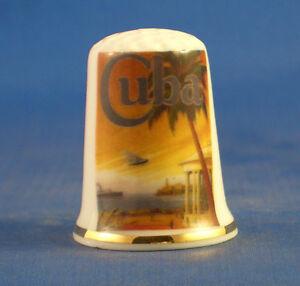 Birchcroft China Thimble -- Travel Poster Series - Cuba - Free Dome Gift Box