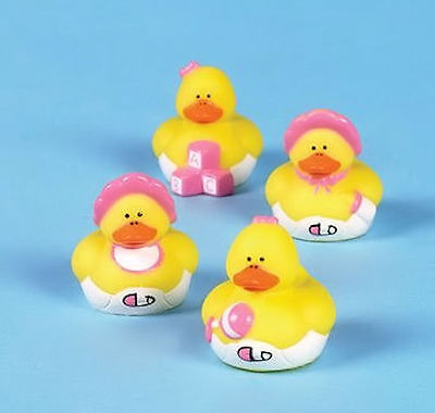 12 Baby Girl Shower Rubber ducks Pink Duckies FAVORS Cake Toppers - Rubber Duck Favors Baby Shower