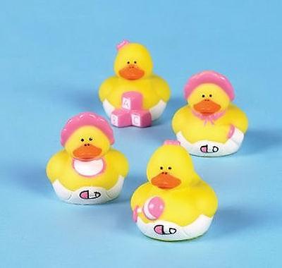 12 Baby Girl Shower Rubber ducks Pink Duckies FAVORS Cake Toppers](Rubber Duck Baby Shower Cake)