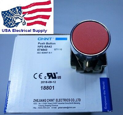 New Heavy Duty Spst Push Button Switch Stop Industrial 1nc