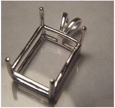 Shape Basket Setting (5x3mm - 30x22mm Sterling Silver Pre-Notched Emerald Shape Basket Pendant Setting )