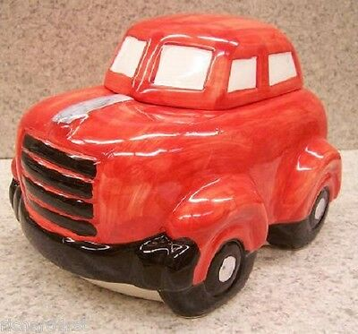 "Ceramic Cookie Snack Jar Red Automobile Sedan 6 1/4"" tall NEW"
