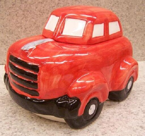 "Ceramic Cookie Snack Jar Red Automobile Sedan 6 1/4"" tall NEW"