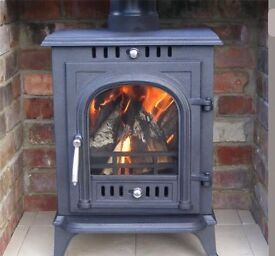 Wood burning stove 8kw multi fuel (including all items for installation)