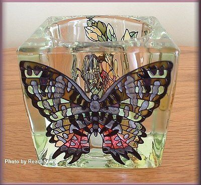 Butterfly Votive Holder Stained Glass by AMIA Hand Painted Free U.S. -