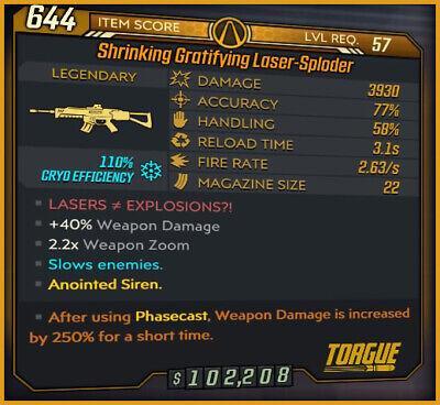 [PS4] Borderlands 3Phasecast Amara God Roll Laser-Sploder (Cryo) - Mayhem 10