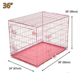 """PINK DOG CAGE 36"""" + ACCESSORIES"""
