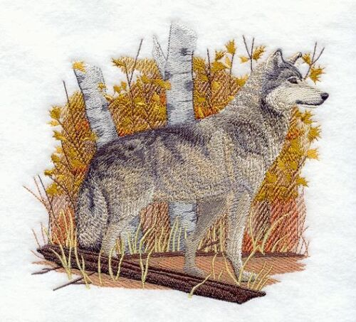 Embroidered Sweatshirt - Wolf in Autumn Leaf Frame E7047