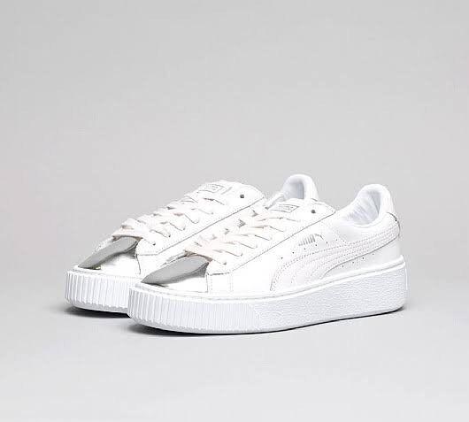 4e4b8726b2b Puma Basket Platform Metallic white and silver sneakers