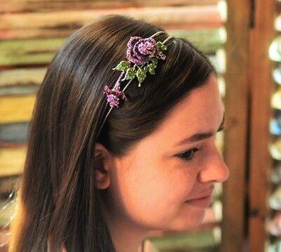 Lavender Purple Head Band Rhinestones Rose Elegant Flower Hair -