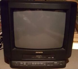 "14"" Aiwa TV with built-in VHS player and remote"