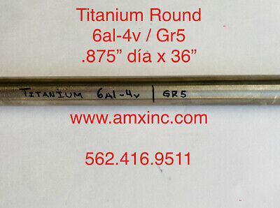 Titanium Round Bar 6al-4v .875 Dia X 36 Long