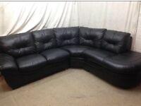 Black leather right handed designer corner sofa excellent condition