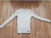 Superdry Mens Oatmeal Thick Cable Knit Black Label Jumper Jersey Large (NEVER WORN)