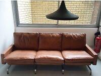 Brown Leather 3 Seat Sofa Repo Poul Kjaerholm - Danish Designer