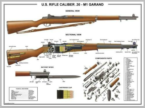 """Poster 24""""x36""""US Rifle M1 Garand Manual Exploded Parts Diagram D-Day Battle WW2"""