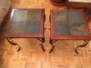 Two wood/stone/iron table