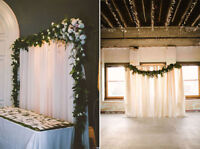 White Backdrop Rental | White Fabric Backdrop | Greenery Garland