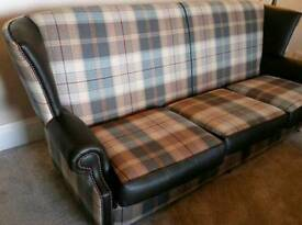 Chesterfield, leather and tartan sofa