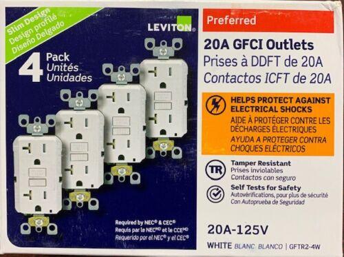 LEVITON GFTR2-4W GFI GFCI 20A TAMPER RESISTANT WHITE 4-PACK  NEW
