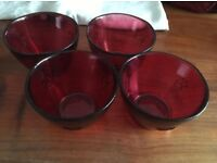 Red glass bowls