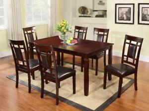 SOLID WOOD DINNING TABLE 6 CHAIRS AND TABLE FOR JUST 499$