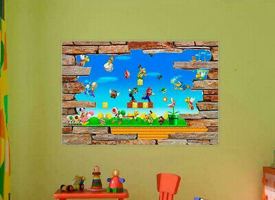Mario Bros Characters (Super Smash Bros Mario Characters 3D Window Rock Decal Wall Sticker Mural )