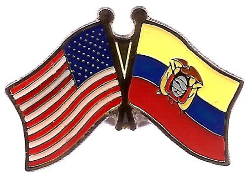 LOT OF 12 Ecuador Friendship Flag Lapel Pins - Ecuador Crossed Flag Pin