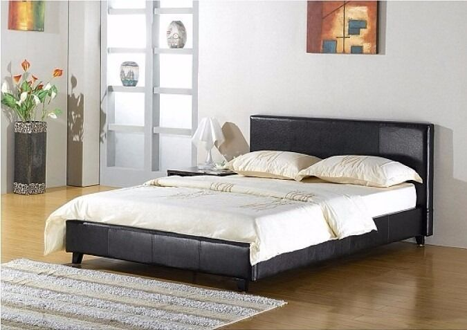 4ft6 Double Faux Leather Bed