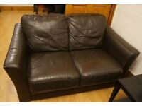 Black Leather Sofa (Two Seater)